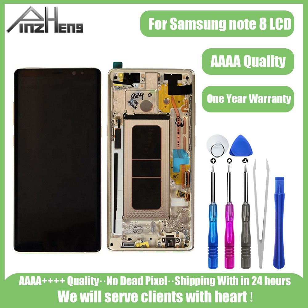 PINZHENG N950F <font><b>LCD</b></font> For <font><b>Samsung</b></font> <font><b>Note</b></font> <font><b>8</b></font> <font><b>LCD</b></font> <font><b>Display</b></font> Touch Screen For <font><b>Samsung</b></font> <font><b>Note</b></font> <font><b>8</b></font> SM-N950 N950F Replacement LCDS With Frame image