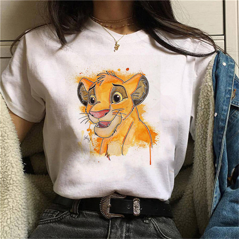 Maycaur Fashion Lion King Women T Shirts Funny Cartoon Print Tshirts Harajuku Vintage Summer Short Sleeves Tops Femme Tees Shirt
