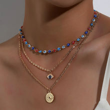 Moda turco mal olhos multicamadas colares para mulheres boêmio vintage diabo pingente colares gargantilha grânulos festa jóias novo