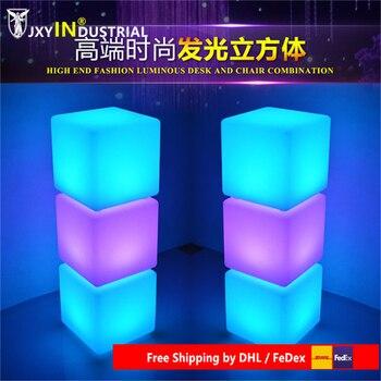 IP68 RGB Wiederaufladbare Holz Led Beleuchtet Möbel Licht Im Freien Wasserdichte Led Cube Stuhl Bar KTV Kunststoff Tisch Lampe