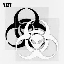 YJZT – autocollants en vinyle, 13.5x12.7CM, décor de carrosserie de voiture drôle Alien biohazer, noir/argent 10A-0511