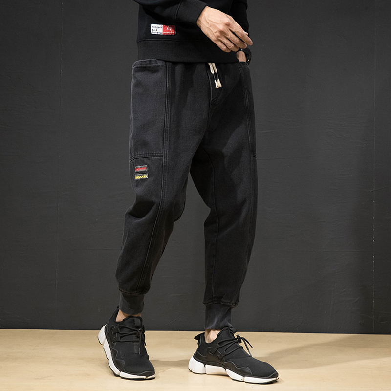 Fashion Streetwear Men Jeans Black Color Loose Fit Cargo Pants Harem Trousers Patches Designer Hip Hop Jeans Men Joggers Pants