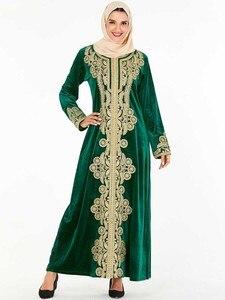 Image 1 - בתוספת גודל אלגנטי המוסלמי חיג אב שמלת נשים דובאי הערבי Pleuche ארוך שרוול העבאיה שמלת קימונו תורכי Jubah בגדים אסלאמיים 4XL
