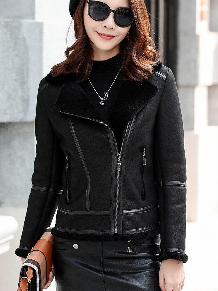 Leather Real Jacket Winter Coat Women 100% Natural Wool Fur Coat Female Sheepskin Coat Streetwear Bomber Jackets MY4329 S