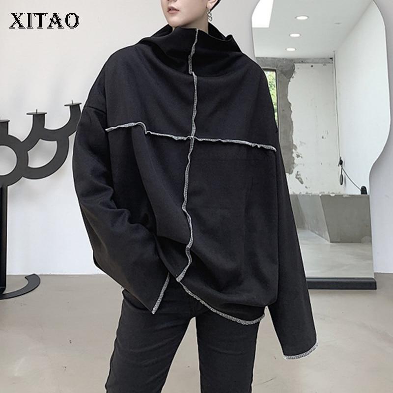 XITAO Hip Hop Sweatshirt Women Plus Size Loose Wild Autumn Womens Winter Tops Personality Stand-up Collar Women Clothes DZL1796 1