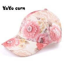 YOYOCORN Women Butterflies Flower Embroidery Caps Girl Sun Hats Casual Snapback Baseball Cap Winter Autumn