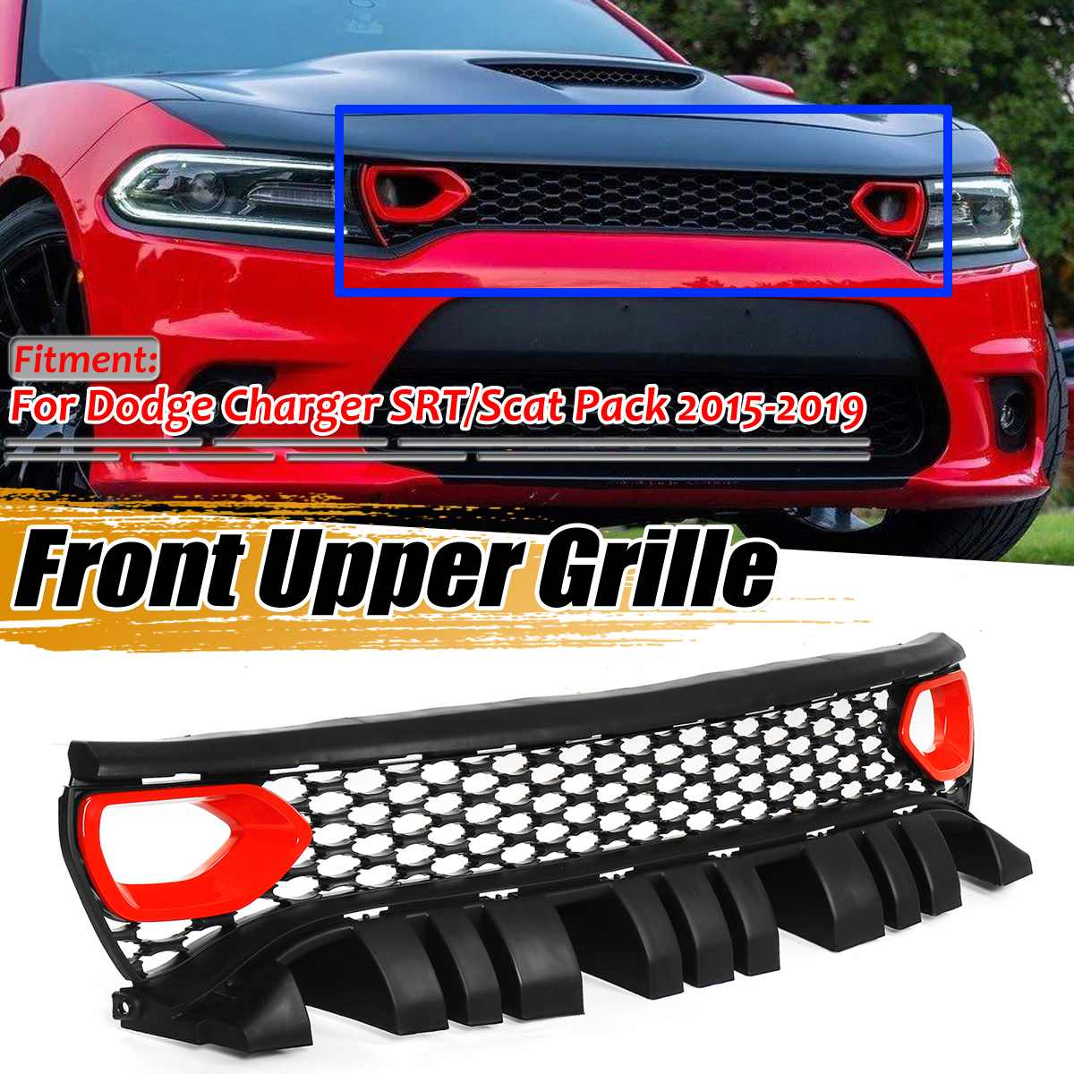 Упаковка стиль SRT/Scat гриль автомобильный передний бампер сетка решетка верхний гриль решетка для Dodge для зарядного устройства SRT/Scat 2015 2019