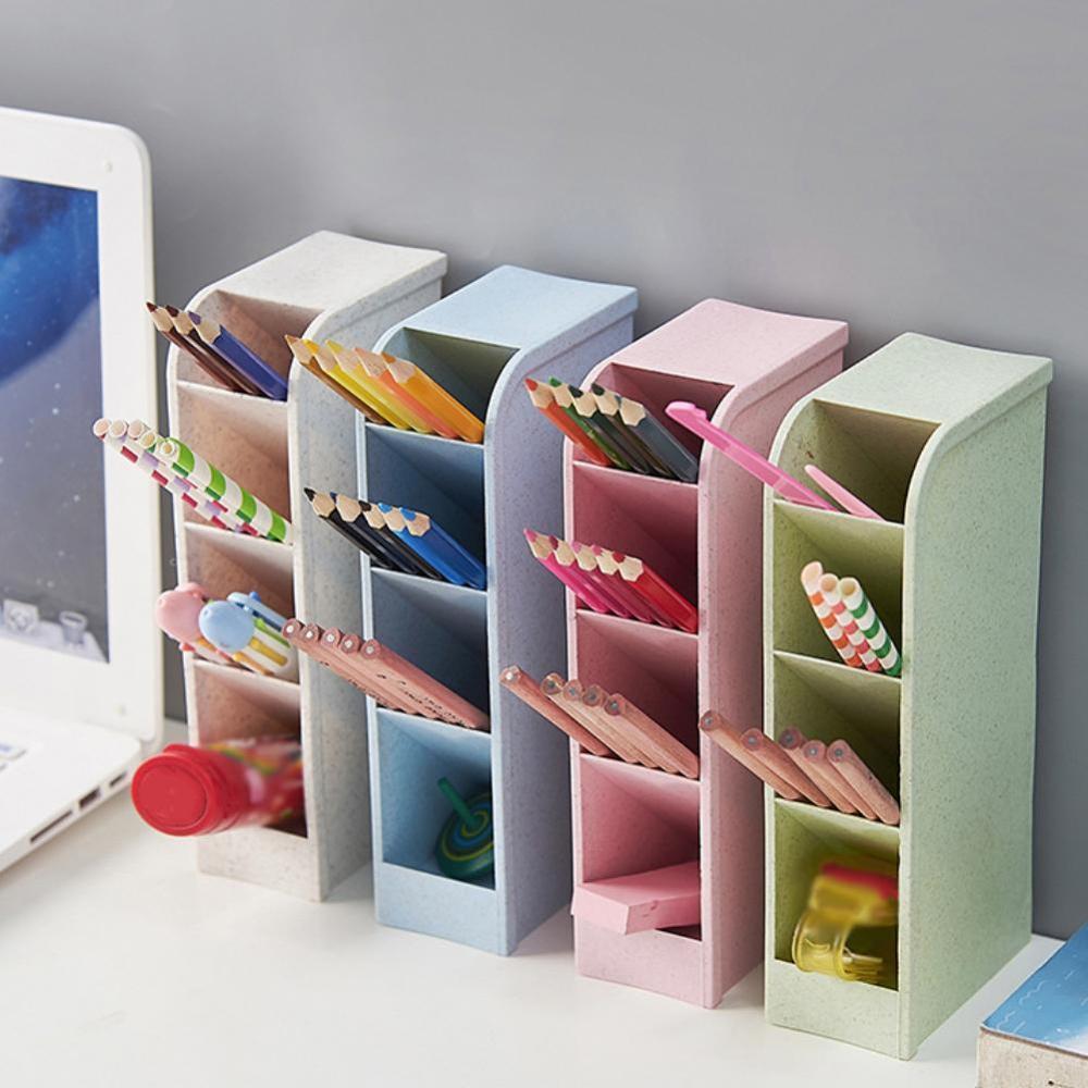 8 Models Multi-function 4 Grid Desktop Pen Holder Office Storage Cases Clear White Black Plastic Box Desk Pen Pencil Organizer