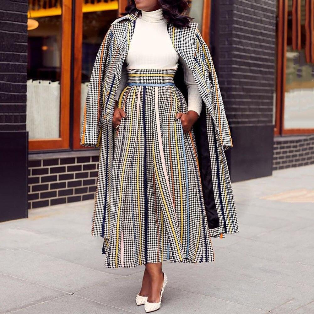 2019 Autumn Winter Women 2 Two Piece Sets Elegant Office Ladies Plaid Long Coat Tops And Wide Leg Pant Suit Outfits Plus Size