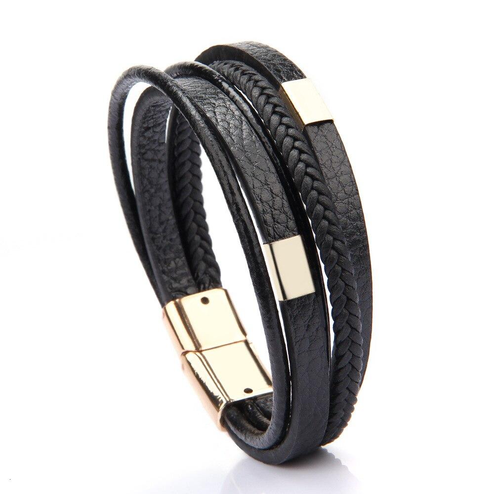 Мужской браслет, многослойный кожаный браслет с магнитной застежкой, Воловья кожа, плетеный многослойный браслет, модный браслет на руку, pulsera hombre - Окраска металла: 13