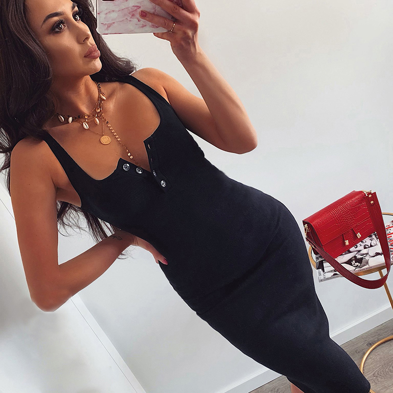 Dropshipping Knee-Length Dress Knitted Elastic Sleeveless Bodycon Women Summer Sexy V-Neck Button Party Slim Dresses YSS136