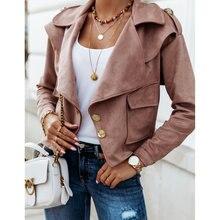 Женская однобортная куртка с длинным рукавом Офисная однотонная