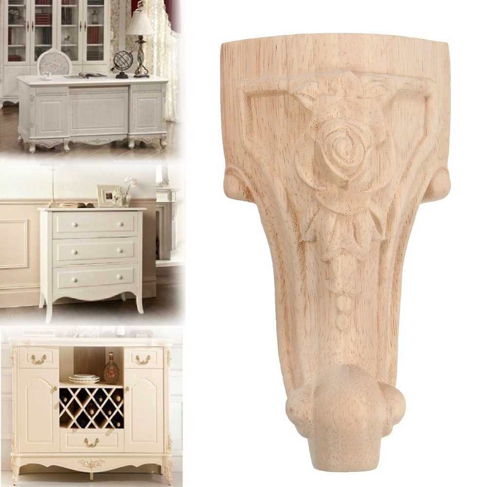 18x6.5CM  Solid Wood Furniture Legs Feet Replacement Sofa Couch Chair Table Cabinet WoodCarving Rose Craft Unpainted Decor Art