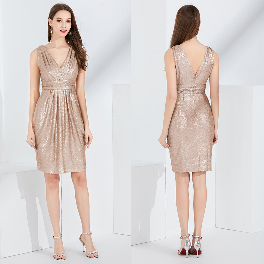 Cocktail Dress 2019 New V-neck Sleeveless Vestidos De Coctel Bling Sequin Short Women Party Dresses Backless Cocktail Gown F338