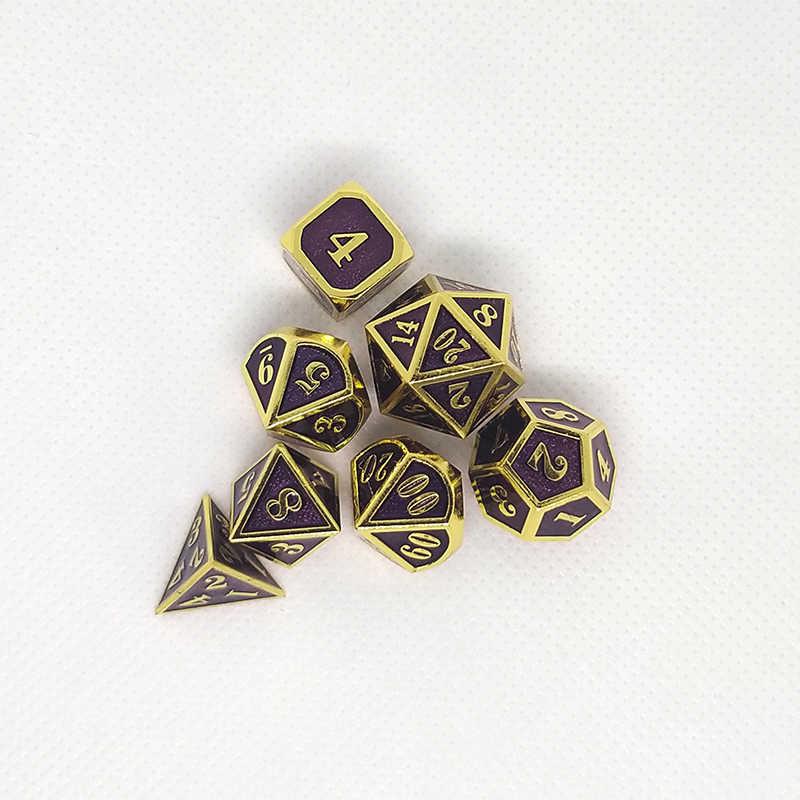 Púrpura de dados de rol de dragones y mazmorras juegos de mesa, promoción de ventas, poliédrico de metal dados de aleación de Zinc de combinación numérica dados