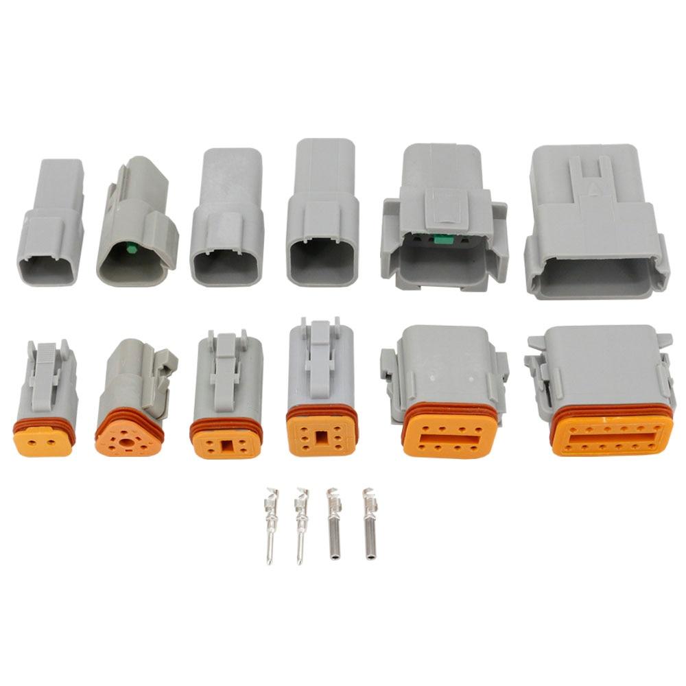 6 Sets Deutsch DT06/DT04 (2 + 3 + 4 + 6 + 8 + 12) Pin Motor/Getriebe Wasserdichte Elektrische Verbinder Für Auto, Bus, Motor, Lkw 22-16AWG