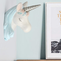 Cute Unicorn Wall Decoration Hanging Wall Animal Head Resin Baby Room Wall Ornaments Home Accessories X3341