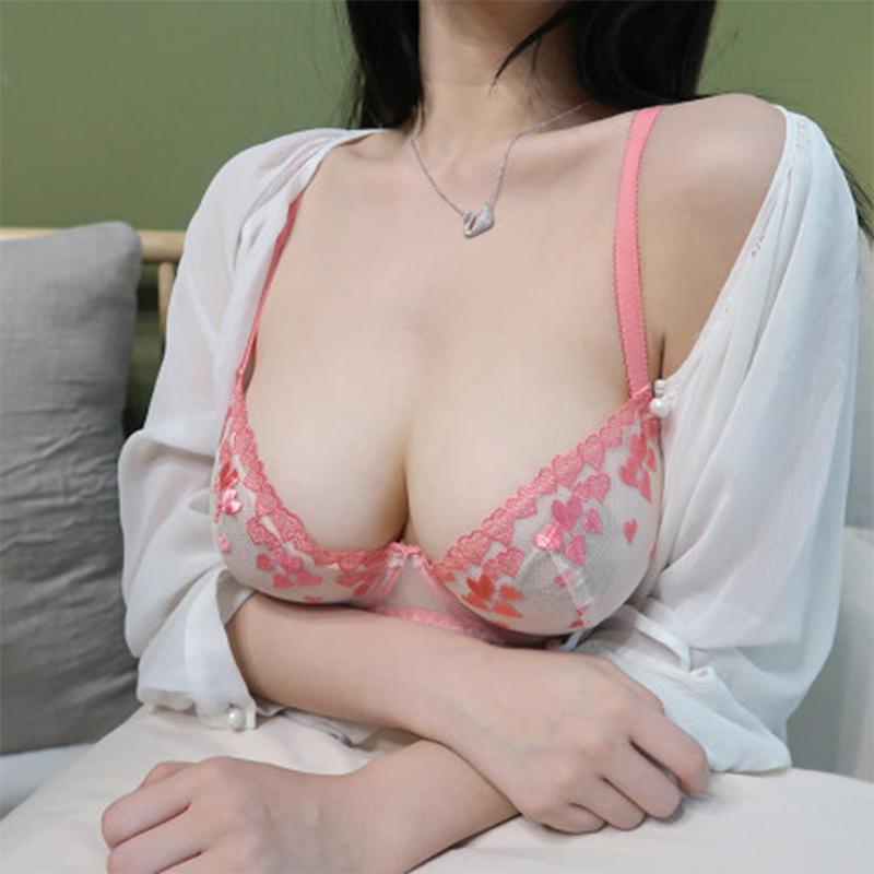 Shaonvmeiwu Sexy, Ultra-thin, Sheer Mesh Bra Set For Women With No Sponge See-through Embroidery Bra