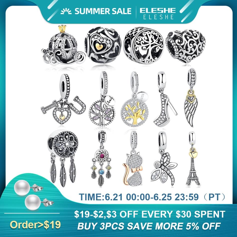 ELESHE Silver Charm Fit Original Bracelet 925 Sterling Silver Beads Love Charm DIY Heart Flower Tower Tree Bead Jewelry Making