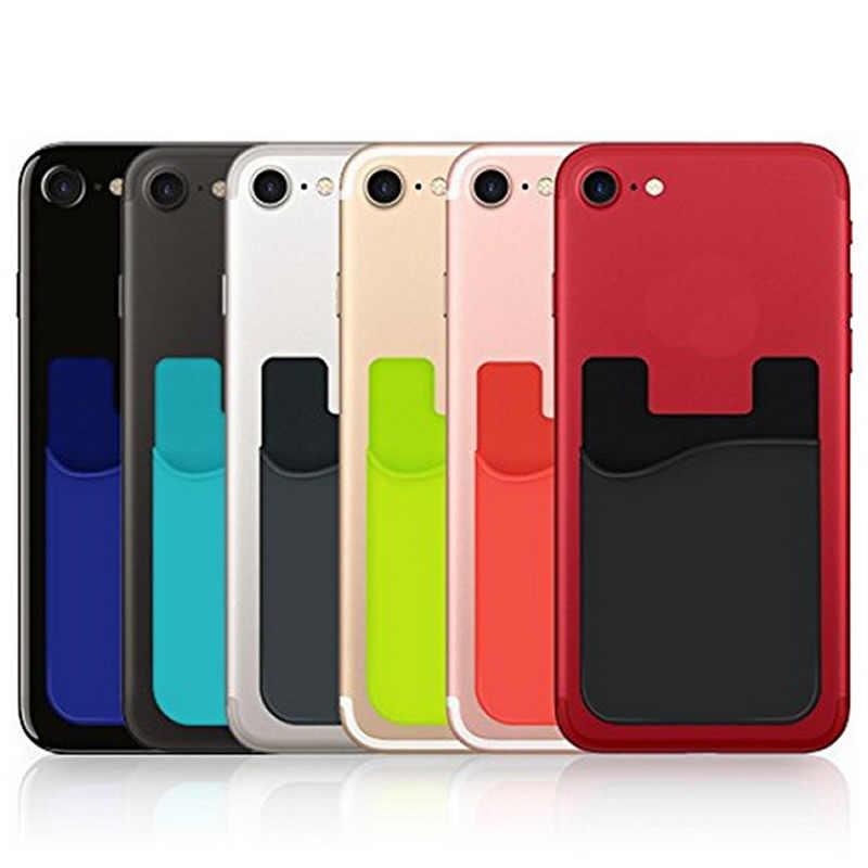 Creatieve 3M Elastische Lycra Mobiele Kaarthouder Telefoon Wallet Case Vrouwen Mannen Business Credit Id-kaart Houder Pocket Stok lijm