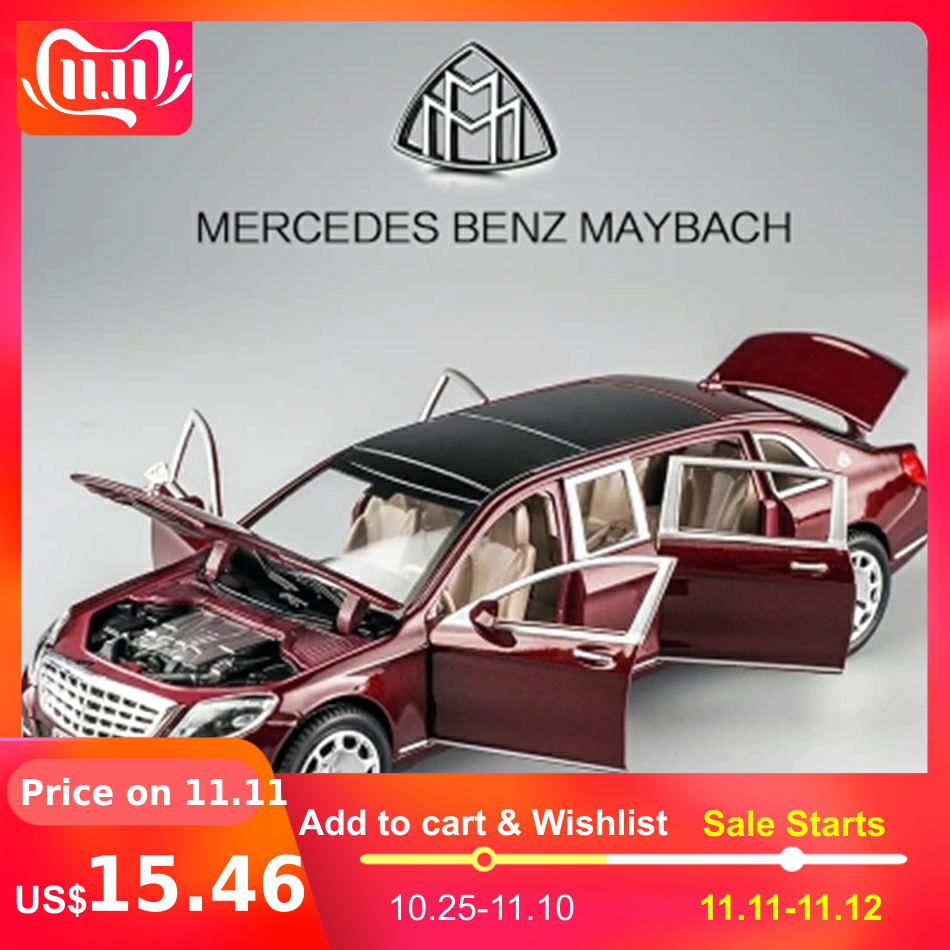 1/24 Maybach S600 Metal Car Model Diecast Alloy High Simulation Car Models 6 Doors Can Be Opened Inertia Toys For Children Difts