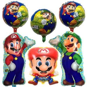 Классические Вечерние шары Super Mario Bros, 10/20/50 шт., шарики из майлярной фольги с супергероями для вечеринки на день рождения