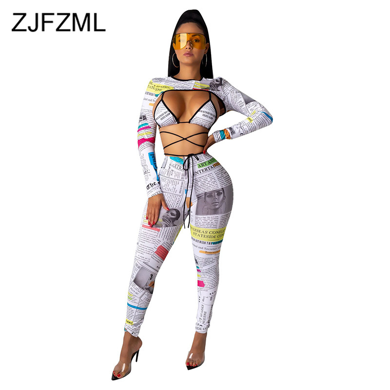 Sexy Club Waist Band Cut Out Lace Up Jumpsuit Women Long Sleeve Letter Print Bodycon Party Romper Hollow Out Bandage Playsuit