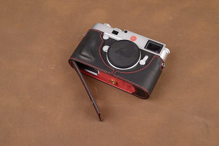 Caso da câmera de couro genuíno artesanal