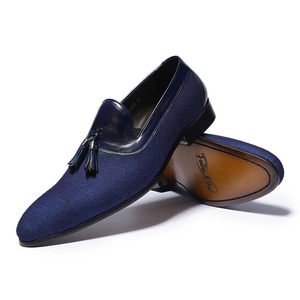 Image 2 - Spring Autumn Mens Dress Shoes Denim Stitching Genuine Leather Wedding Party Banquet Formal Men Blue Loafers With Tassel