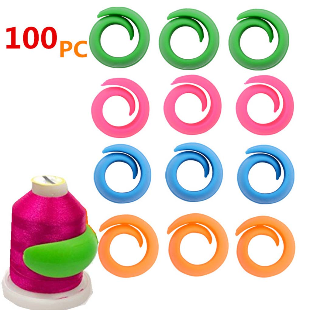 100pcs/set Thread Spool Huggers Holders Clips Peels Sewing Embroidery Quilting Bobbin Clip Silicone Clamp