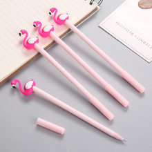 3 Pcs Kawaii Cartoon Writing Pen Lucky Pink Flamingo Gel Pen Signature Pen School Office Supply K1327 K(China)