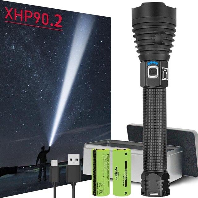 가장 강력한 LED 손전등 새로운 크리 어 XHP90 USB 충전식 LED 토치 XHP50 XHP70 줌 핸드 램프 2*18650 또는 2*26650 배터리 42W