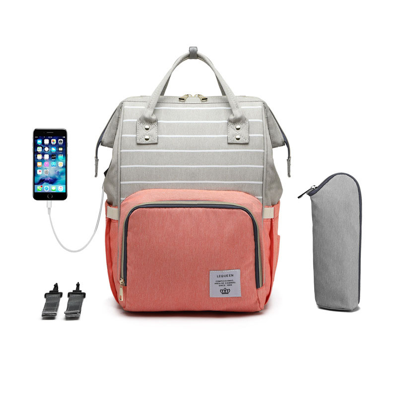 LEQUEEN Baby Diaper Bag For Mom USB Large Capacity Waterproof Nappy Bag Stroller Bags Maternity Travel Backpack Nursing Handbag