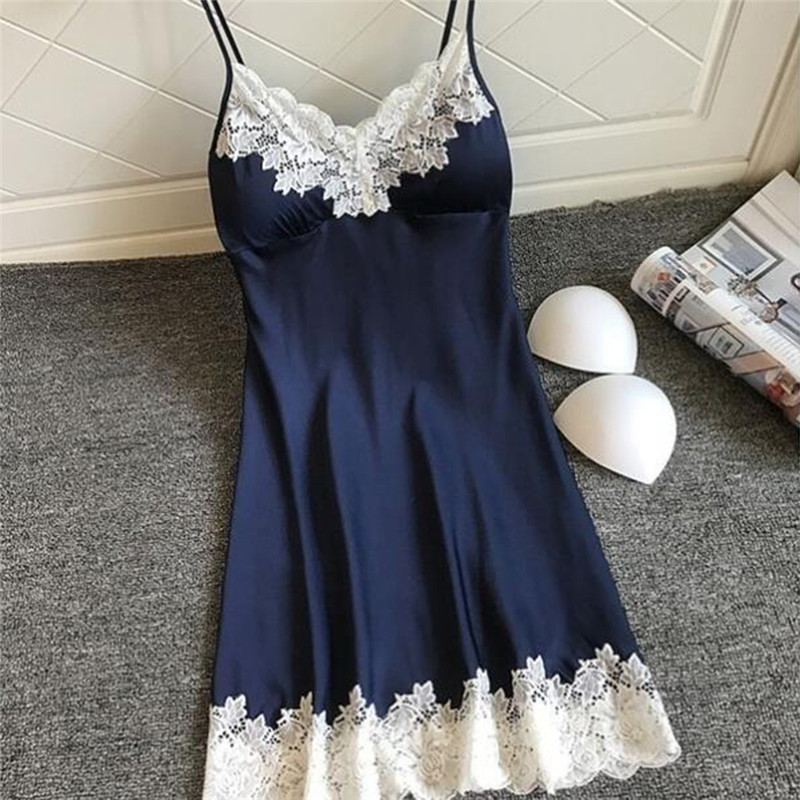 Fashionable Women Soft And Comfortable Sexy Padded V-Neck Lace Strappy Underwear Nightdress Charming Home Sleepwear домашняя оде
