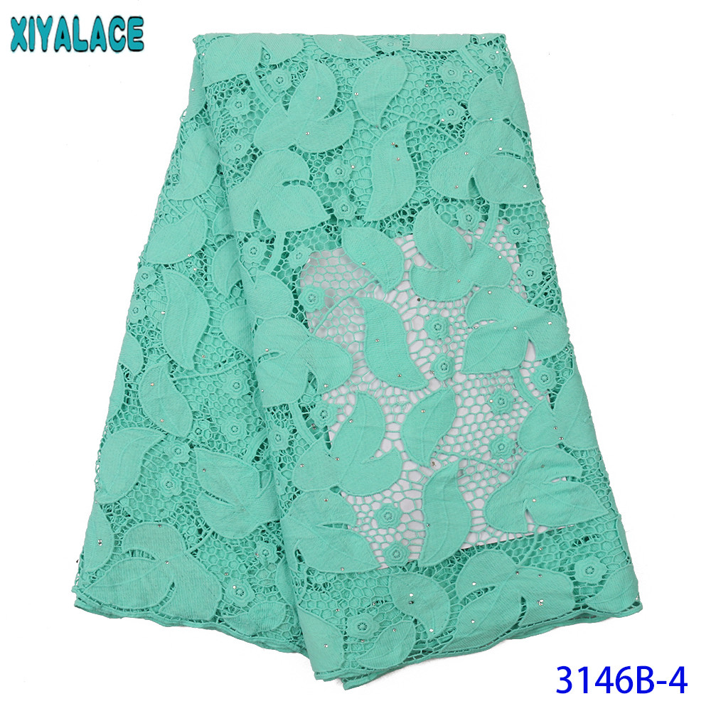 2019 Guipure Lace Fabric African Fabric Lace Hollow Out Laces High Quality Cord Lace Fabric With Stones For Women Mint KS3146B