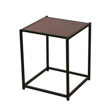 Rustic Iron Frame Wood Grain Veneer Surface Side Table End Table Sapele Color