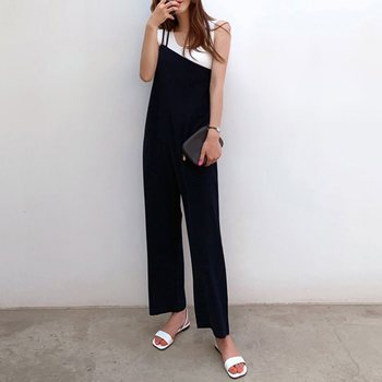 Office Ladies Korean Japan Style Black Jumpsuits Women Plus Size Loose Casual Wide Legs Backless Female Elegant Rompers plus size plain loose wide legs jumpsuit