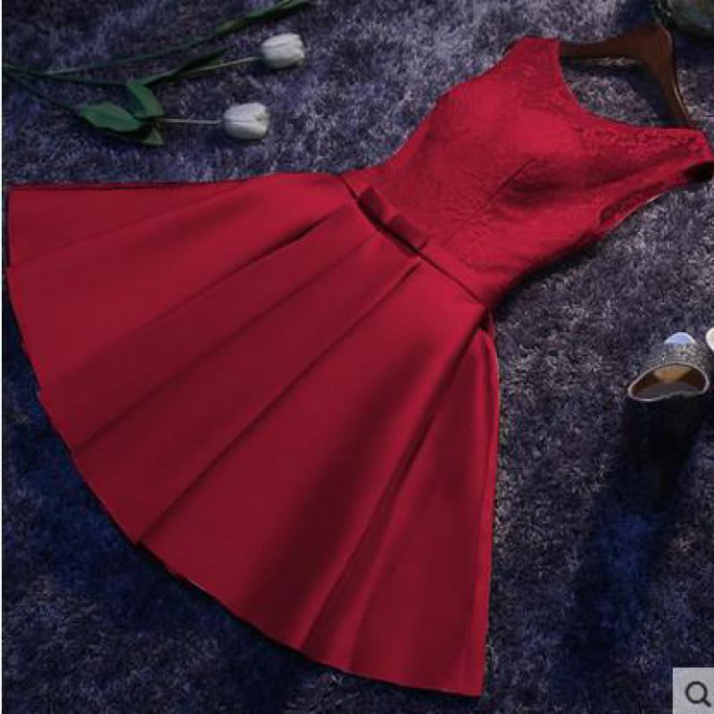 Vestido De Noche 2020 Sweet Short Evening Dresses Fashion O-neck Sleeveless Lace Party Prom Gown Women Slim Formal Dress