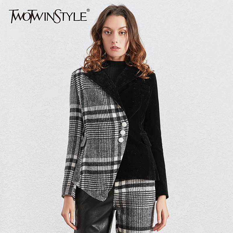 TWOTWINSTYLE Velour Patchwork Wool Plaid Blazers For Female Notched Long Sleeve Asymmetrical Women's Suits Fashion Clothing Tide