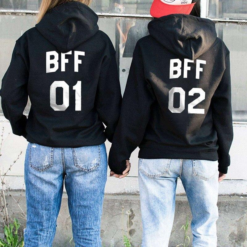 Bff 01 02  Hoodie Letter Printing Best Friend Hoodie Women Long Sleeve Hooded Sweatshirt Harajuku Pullover