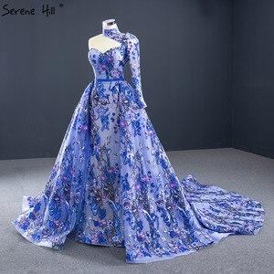 Image 3 - ブルーワンショルダーのセクシーなマーメイドイブニングドレス 2020 ハンドメイド刺繍の花フォーマルドレス穏やかな丘 HM67028