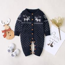 Baby Rompers Pajamas Winter Christmas Knitted Newborn Boys Girls Jumpsuits Long Sleeve Infant Kids Overall 0-2Y Children Clothes christmas reindeer knitted newborn baby boys girls romper jumpsuit winter kids costume long sleeve pajamas overalls for children