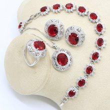 Conjunto de jóias de cor de prata para mulher geométrica zircão vermelho pulseira brincos colar pingente anel caixa de presente