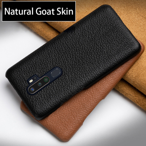 Genuine Leather Phone Case For OPPO Find X2 R15 R17 Reno Z 2 2Z 2F 3 Pro Ace A5 A9 2020 A11X K3 K5 Natural Goat Skin Back Cover