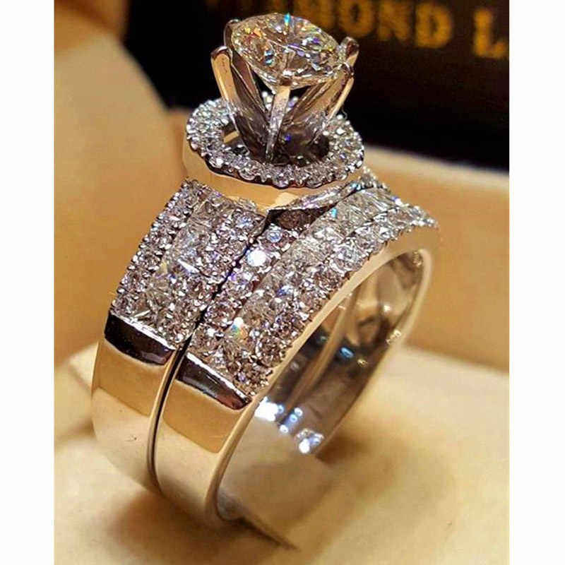 Cristal de luxo feminino grande rainha anel conjunto moda 925 prata casamento nupcial anéis para as mulheres promessa amor anel de noivado