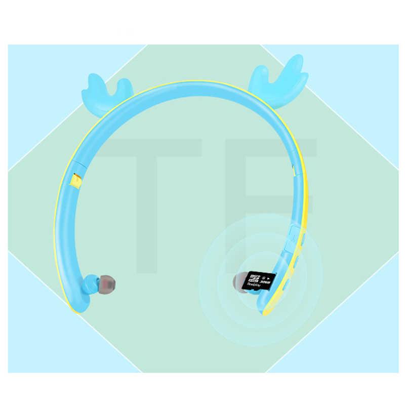 เด็กน่ารักบลูทูธ 5.0 LED เรืองแสงหูฟังกวางหูพับได้ชุดหูฟังไร้สายรองรับ TF Card Fone De Ouvido