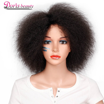 Syntetyczna peruka afro dla kobiet afrykańska ciemnobrązowa czarna czerwona kolor Yaki prosta peruka krótka Cosplay włosy tanie i dobre opinie Doris beauty Wysokiej Temperatury Włókna Krótki Yaki prosto Średnia wielkość