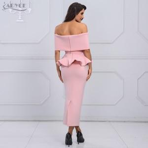 Image 5 - Adyce bow & ruffles 발목 길이 연예인 저녁 bodycon 파티 드레스 2020 새로운 화이트 슬래시 목 짧은 소매 핫 클럽 드레스 여성
