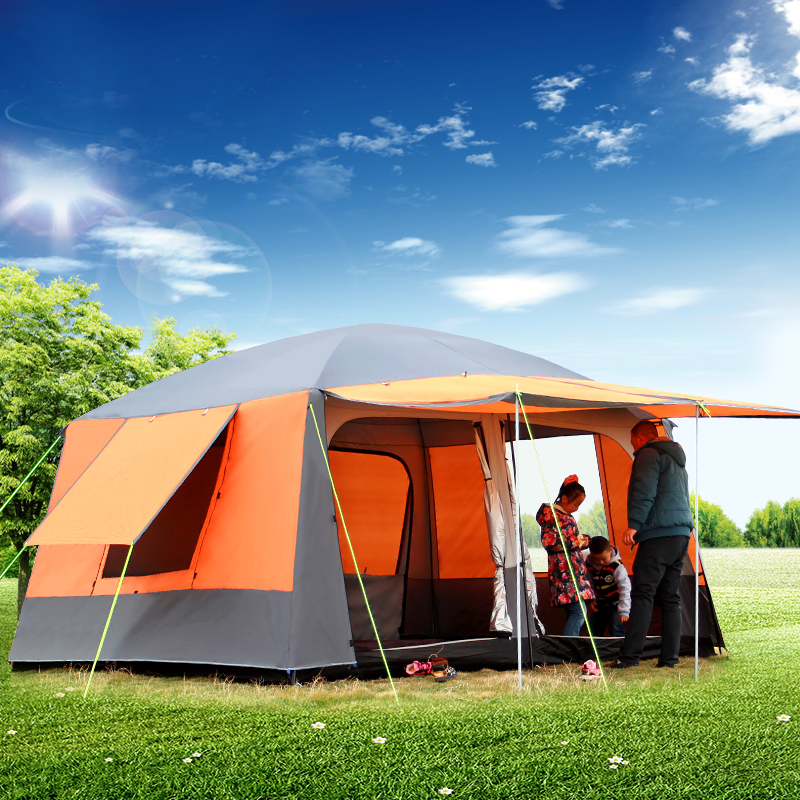 Ultralarge 6-12 Person Double Layer Outdoor 2 Living Rooms 1 Hall Family Camping Tent Waterproof Ultralarge Camping Tent