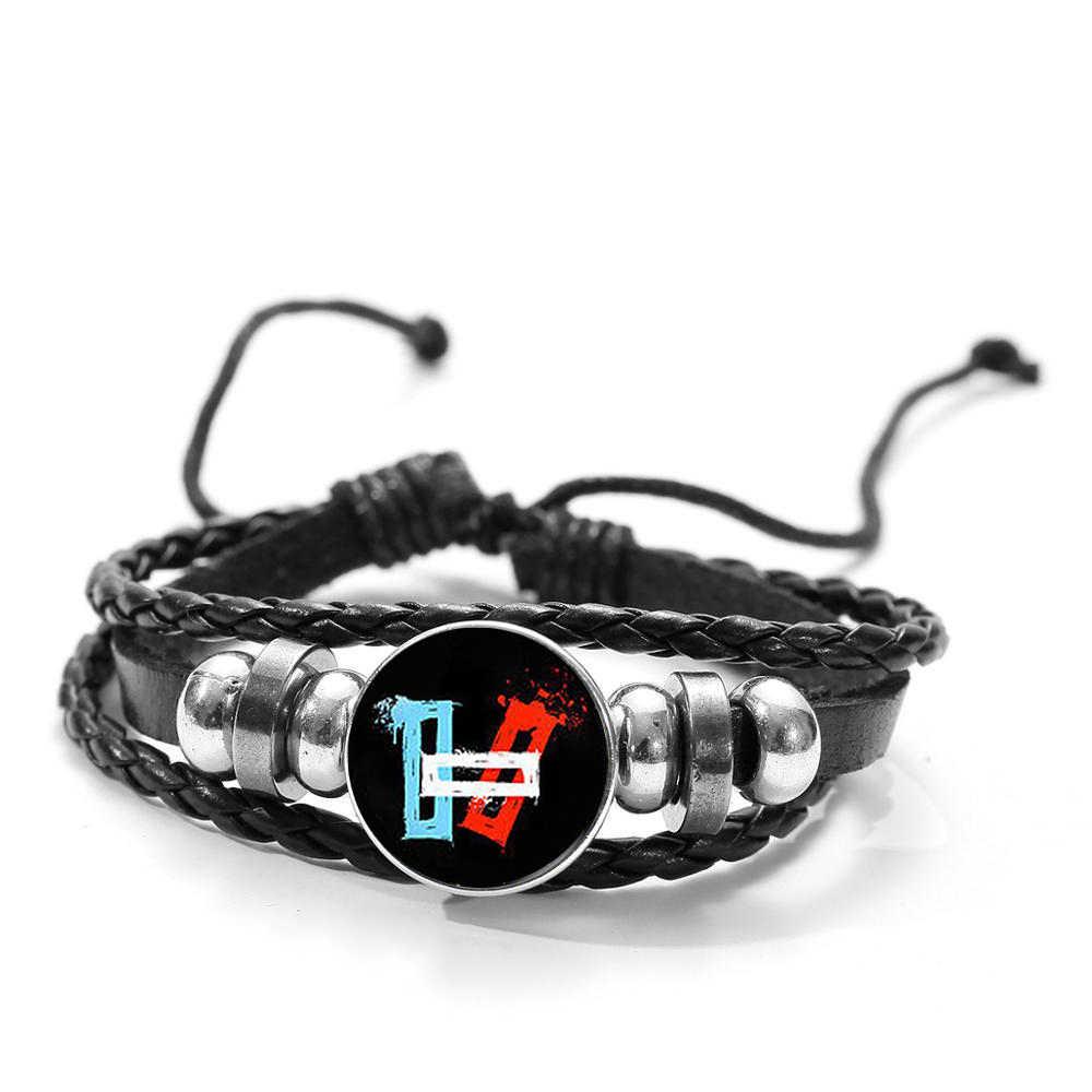 Pulsera de cuero Twenty One Pilots, pulsera musical Popular, diseño de logotipo, tejido con cuentas redondas de cristal, brazalete para hombres y mujeres